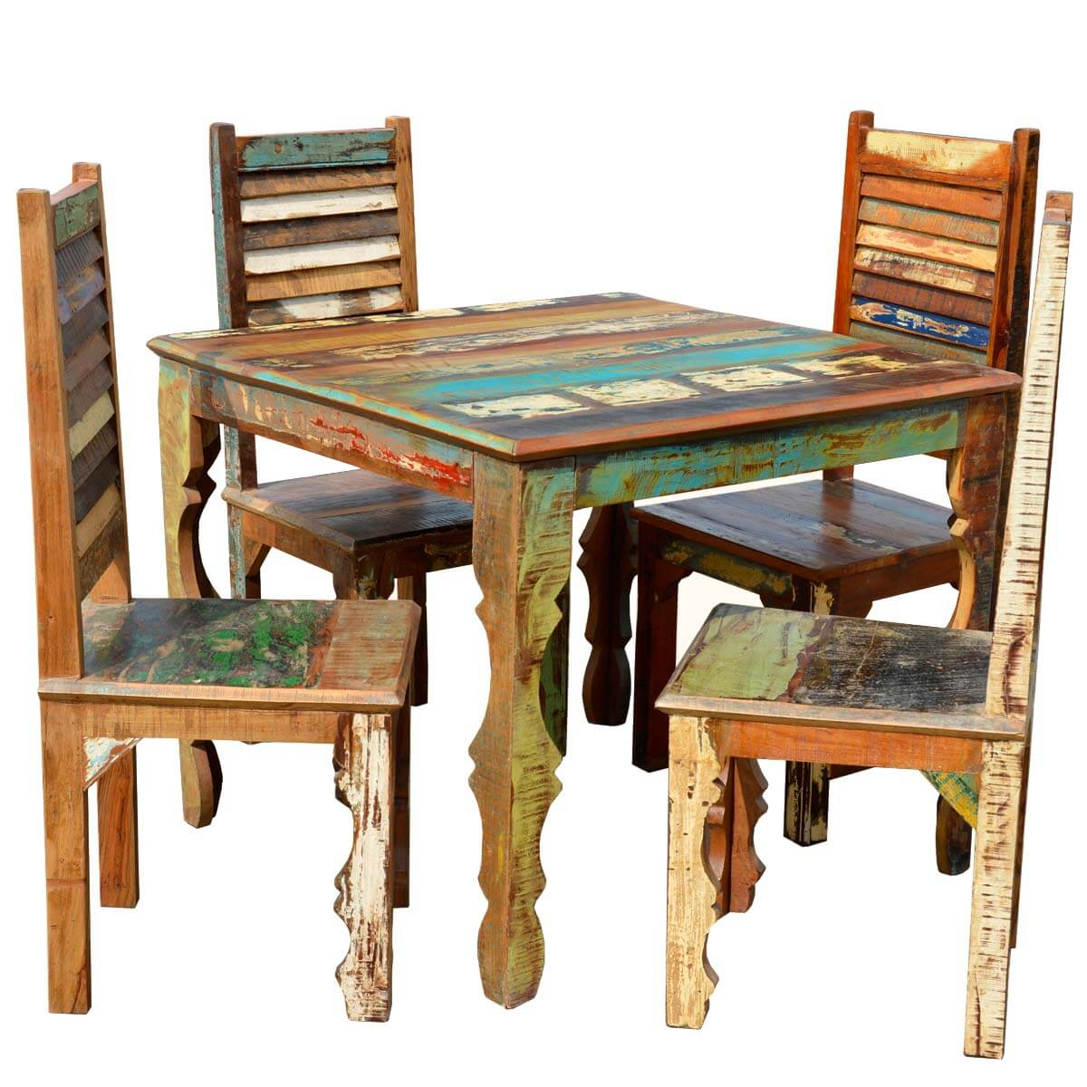 dining chair sets of 4 dorel juvenile group high rustic reclaimed wood table w shutter back chairs