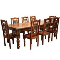 Rustic Furniture Solid Wood Large Dining Table & 8 Chair Set