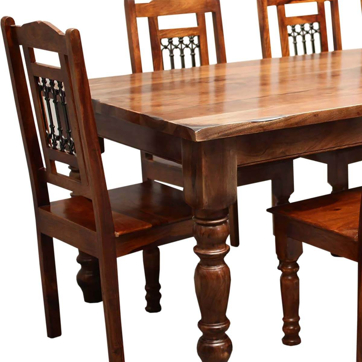 solid wood dining room table and chairs wingback chair covers walmart rustic furniture large 8 set