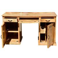 "Rustic Solid Mango Wood 52"" Computer Desk With Drawers And"