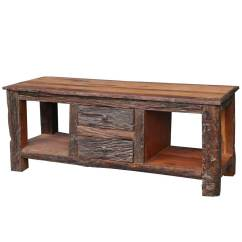 Media Sofa Table 3 Pc Microfiber Sectional With Recliner And Queen Sleeper Malverne Rustic Bark Railroad Reclaimed Wood Tv