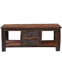 Media Sofa Table How To Recover A Leather With Fabric Malverne Rustic Bark Railroad Reclaimed Wood Tv