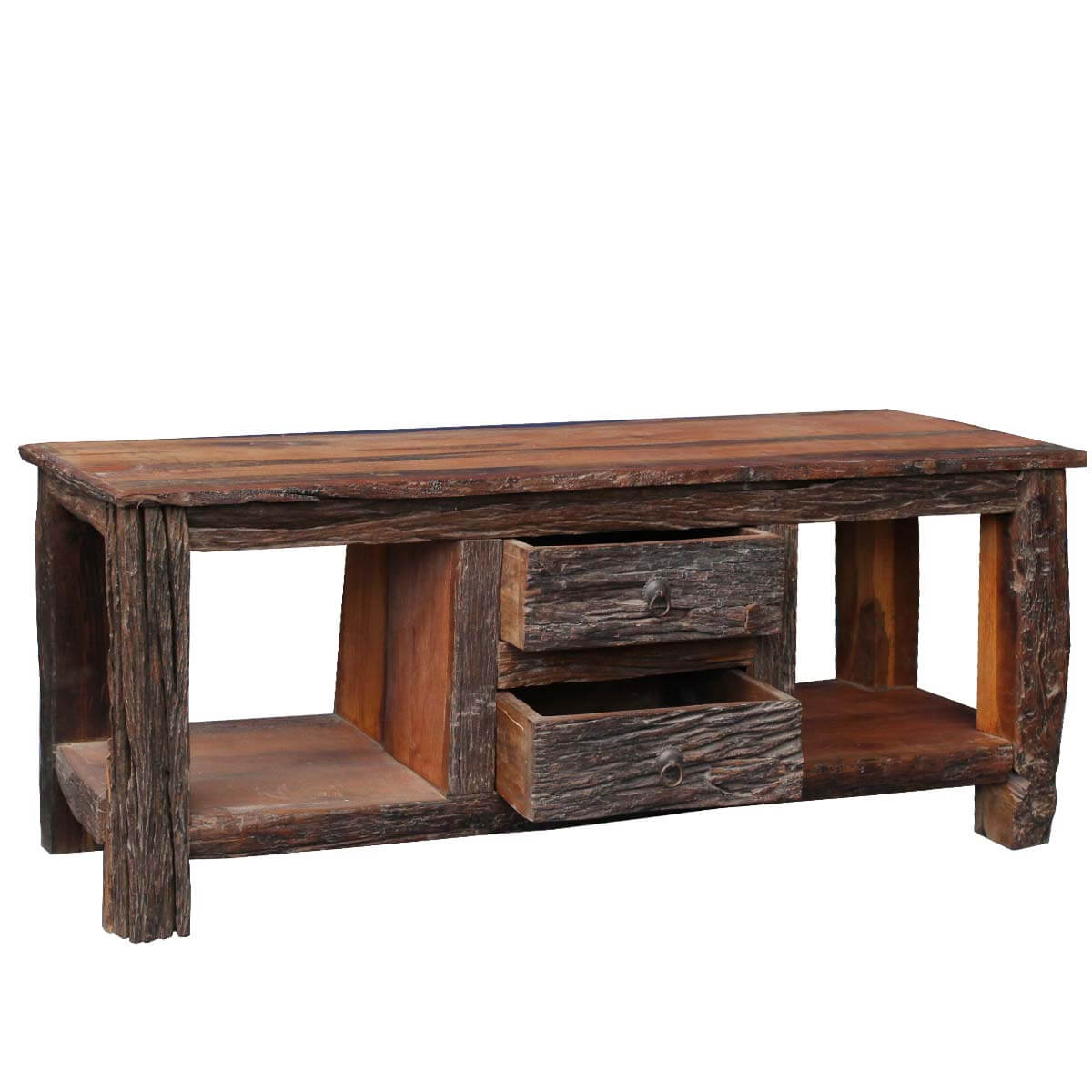 media sofa table is in spanish masculine or feminine rustic bark railraod reclaimed wood stand console