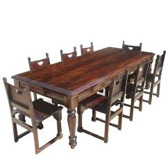 Suede Dining Table Chairs Horse Saddle Seat Chair Large Rustic Solid Wood Room W 8 Leather