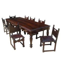 Dining Room Table Sofa L Shaped Living Layout Large Rustic Solid Wood W 8 Leather