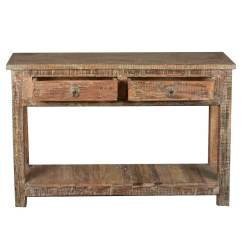 Rustic Cream Sofa Table Can Reupholster My Leather Reclaimed Wood Naturally Distressed Hall Console