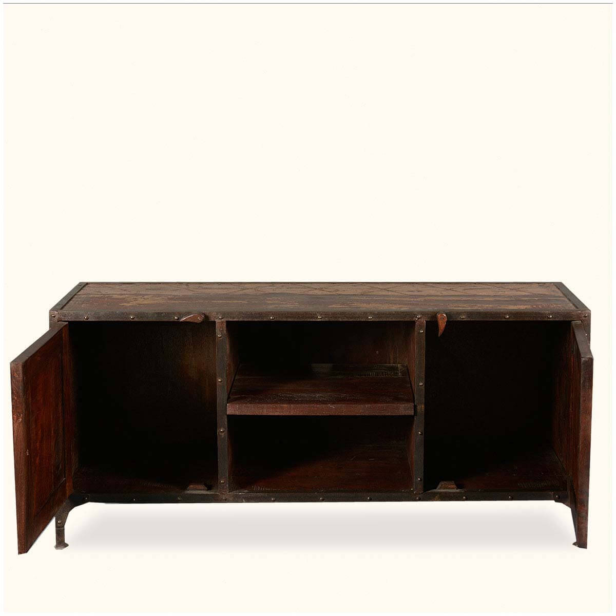 Rustic Industrial Reclaimed Wood & Iron TV Stand Media Console