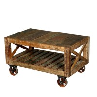 Calhoun Rustic Reclaimed Wood Double X Industrial Cart ...