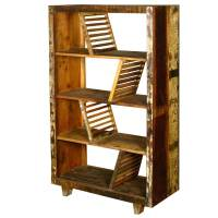 Rustic Washboards Reclaimed Wood 4-Shelf Open Back Bookcase