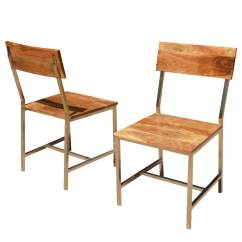 Rustic Dining Chair Personalized Childrens Solid Wood And Iron Set Of 2
