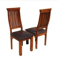 Ergonomic Solid Wood & Leather Dining Chair Set of 2
