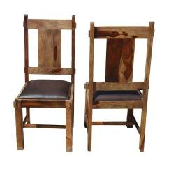 Wood And Leather Chair What Is A Lift Appalachian Rustic Solid Chairs Set Of 2