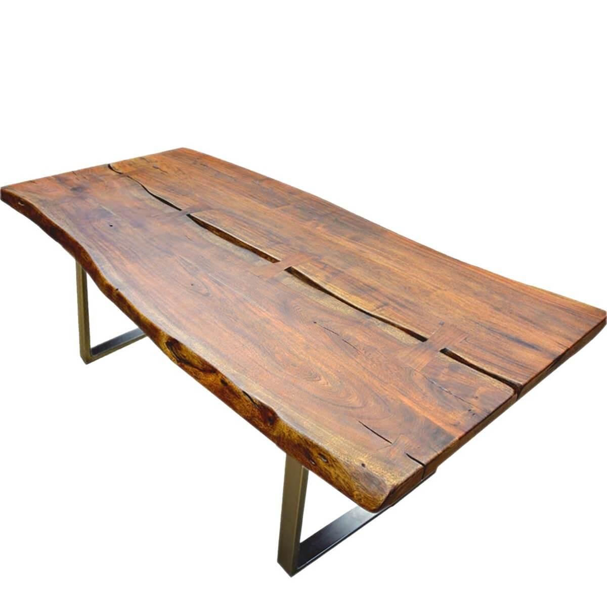 Live Edge Acacia Wood  Iron Rustic Large Dining Table