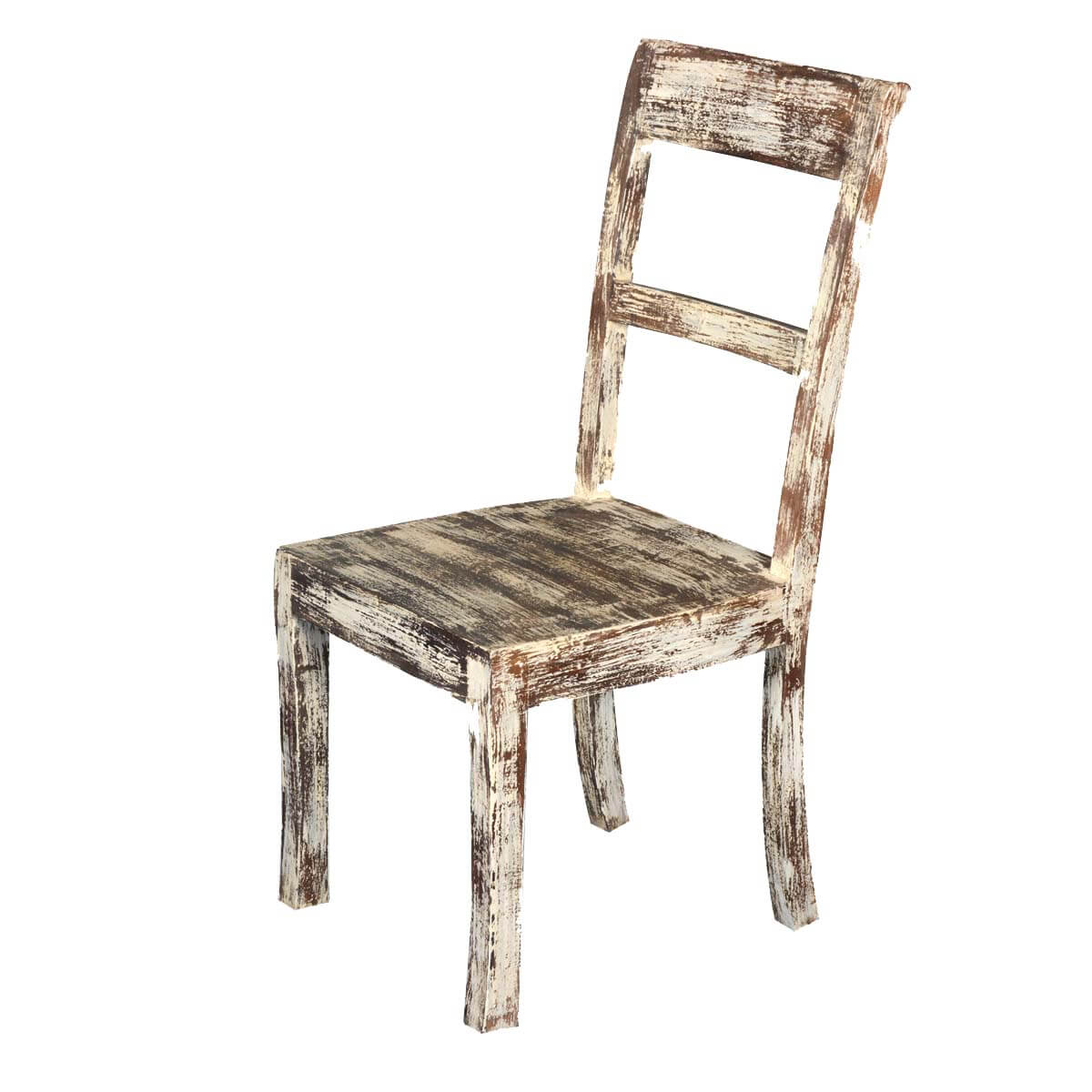 white distressed dining chairs scorpion gaming chair mango wood rustic school back side