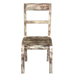White Distressed Dining Chairs Swing Chair Very Mango Wood Rustic School Back Side