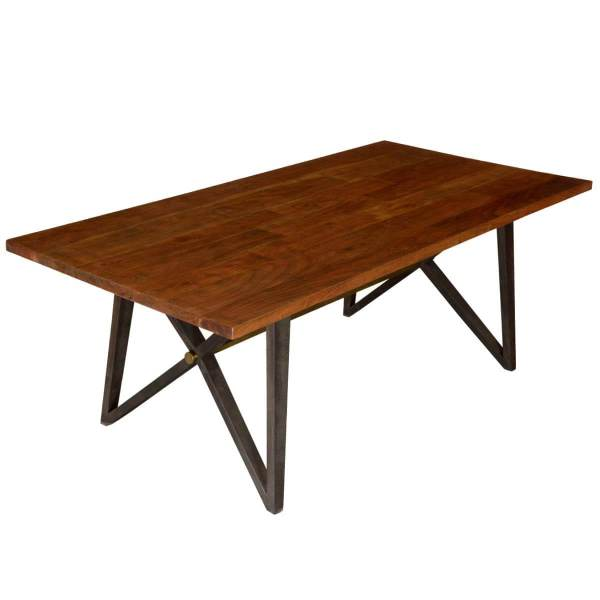 Mckay Rustic X Frame Double Base Solid Wood Dining Table