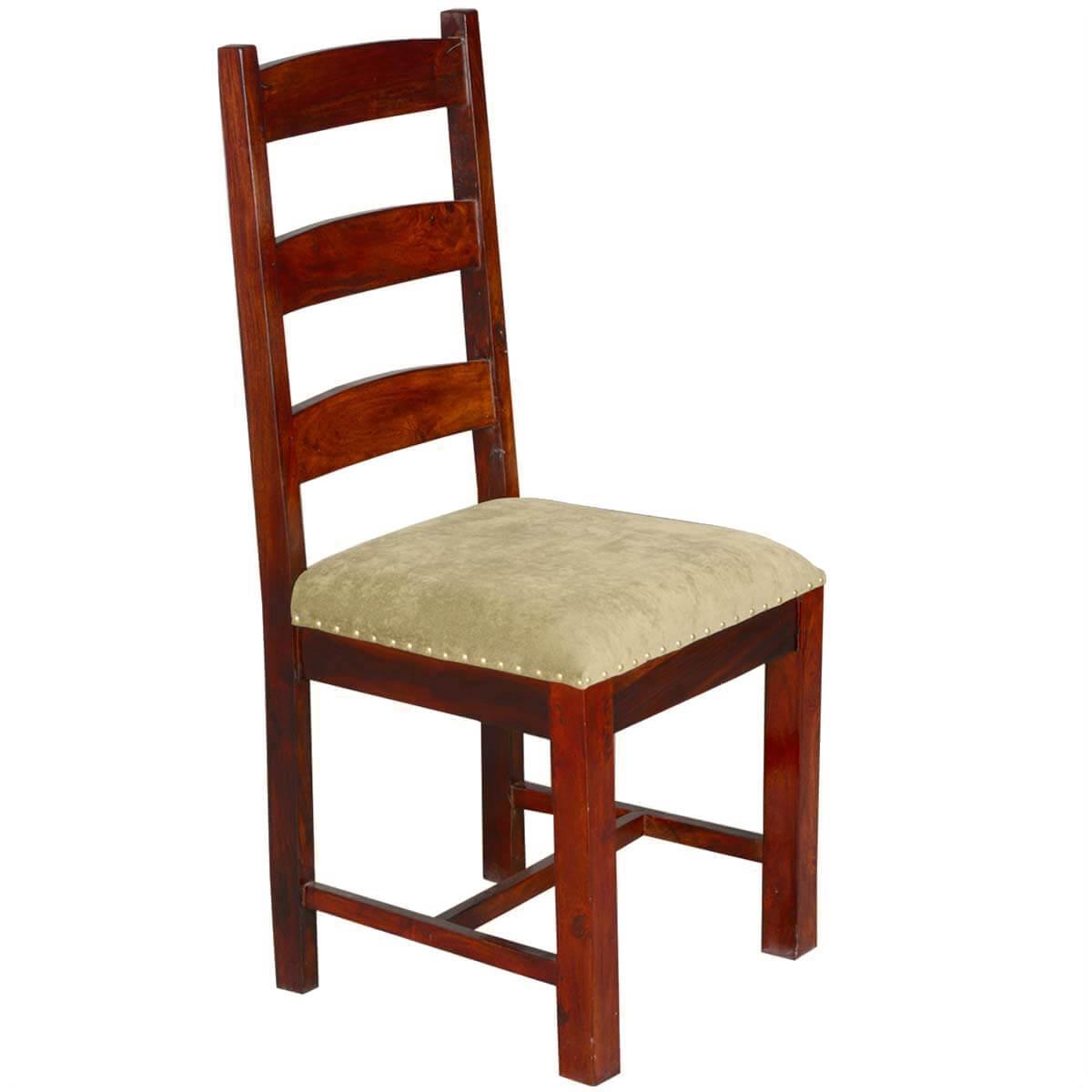 Traditional Solid Rosewood Upholstered Ladder Back Side