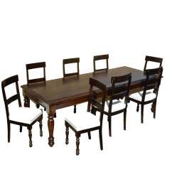 Dining Table With Leather Chairs Slipcovers For Oversized American Acacia Wood And Upholstered