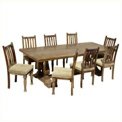 Farmhouse Chairs Koken Barber Solid Wood Trestle Rustic Dining Table