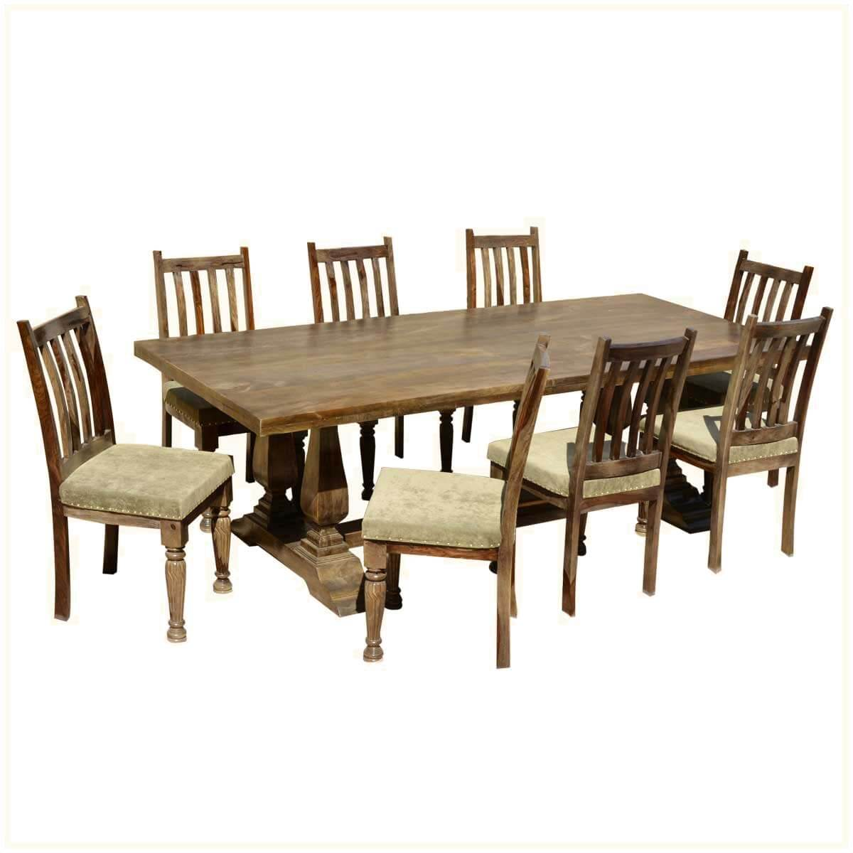 farmhouse dining chairs pottery barn wicker chair and ottoman solid wood trestle rustic table