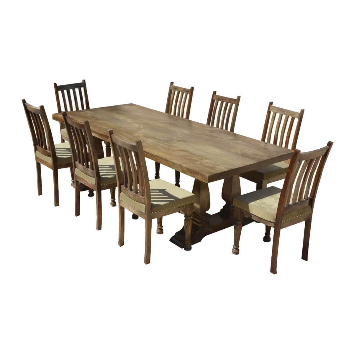 rustic dining table and chairs electric reclining farmhouse solid wood trestle
