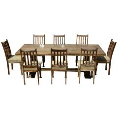 Rustic Dining Table And Chairs Captains Chair Farmhouse Solid Wood Trestle