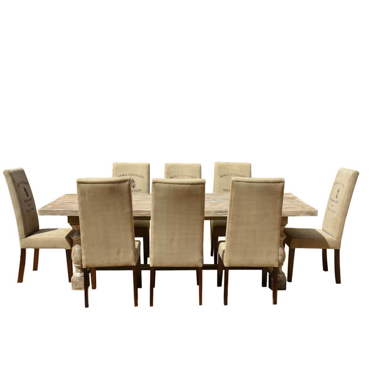 Italian Mango Wood White Dining Table  Cafe Logo Fabric
