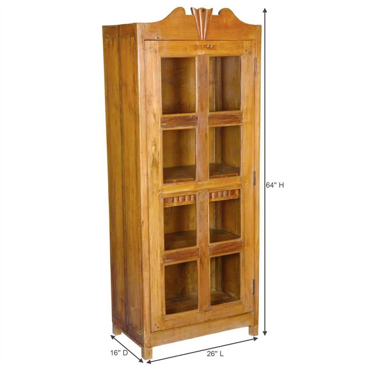 Colonial Solid Teak & Glass Single Door Display Curio Cabinet