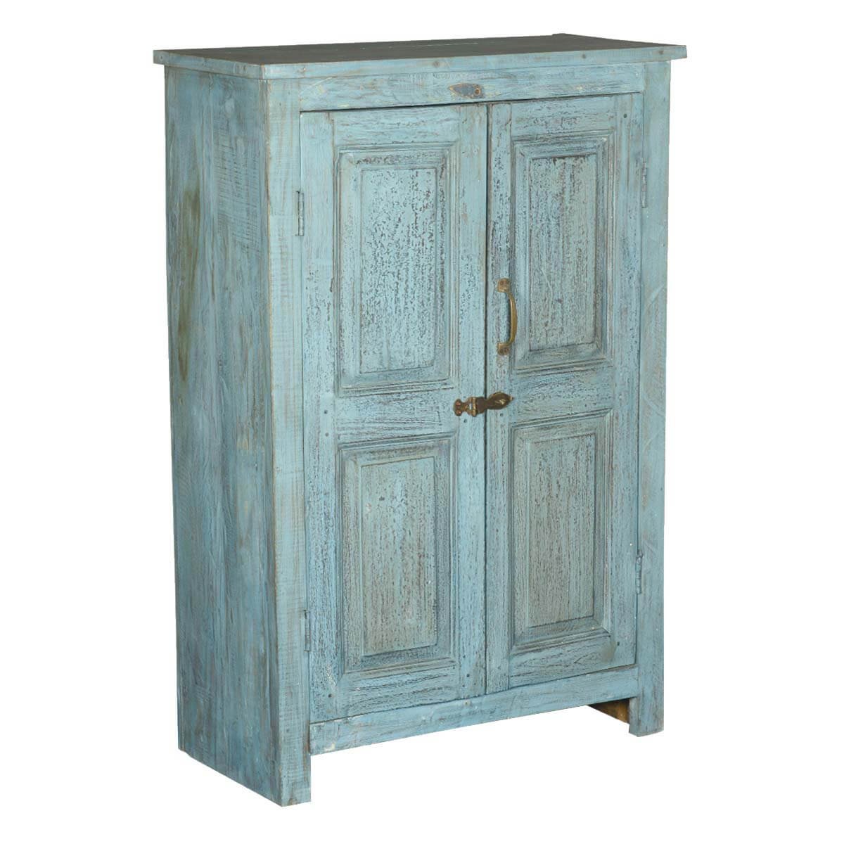 Distressed Blue 2 Door Reclaimed Wood Storage Cabinet