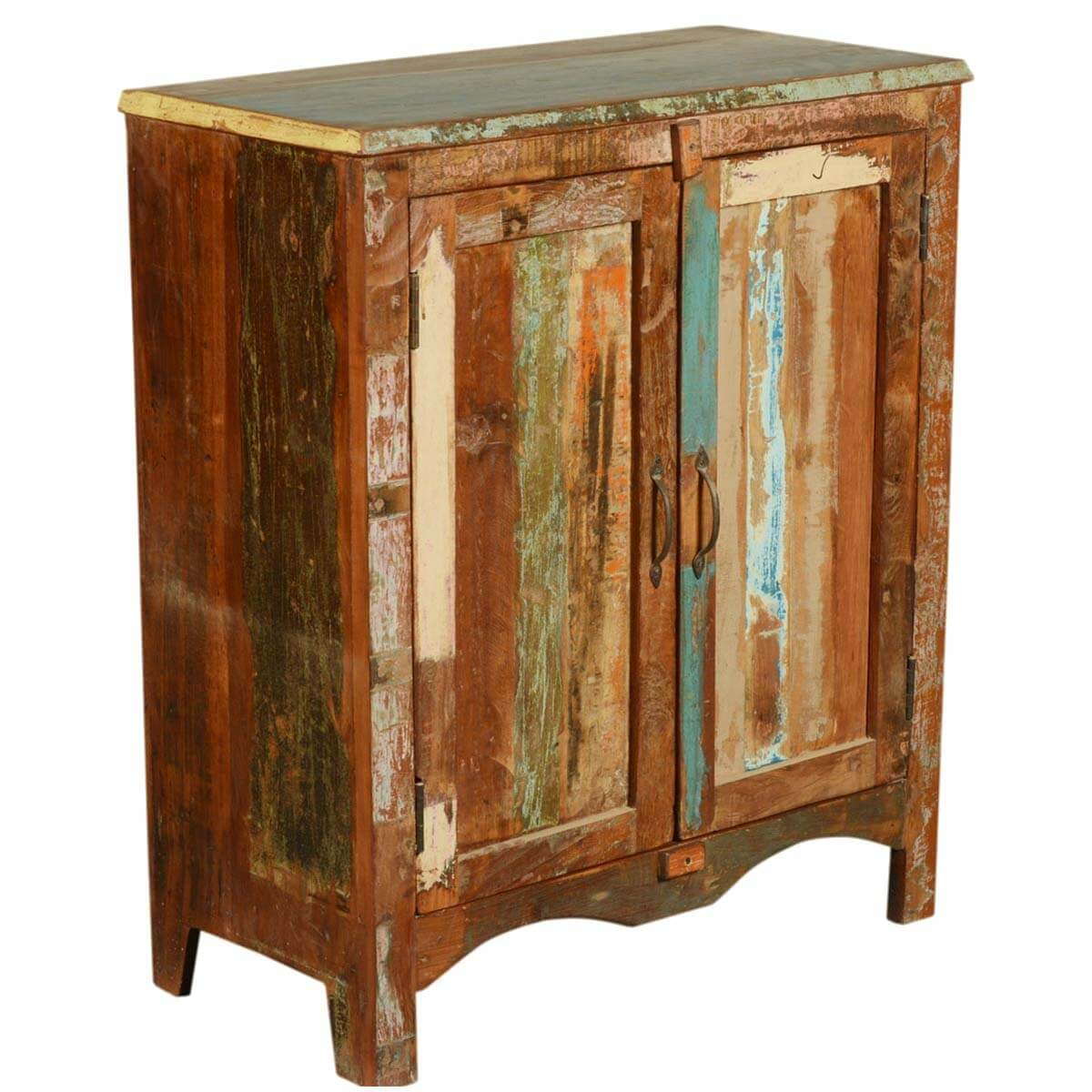 Arcadia Paint Patches Rustic Reclaimed Wood Floor Cabinet