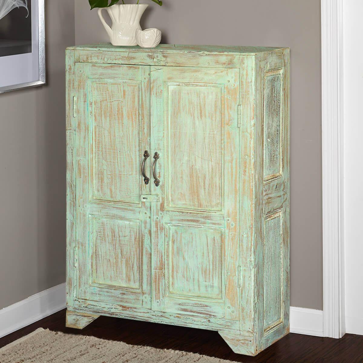 Julian Rustic Reclaimed Wood Storage Cabinet 2 Door Small
