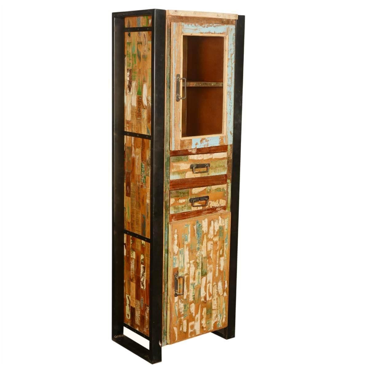 Mondrian Solid Reclaimed Wood Tall Industrial Narrow