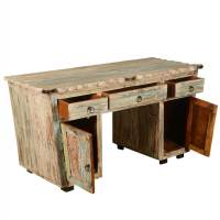 Rustic Reclaimed Wood Scalloped Edge Executive Desk with ...