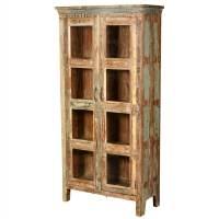 New Memories Reclaimed Wood 8-Window Curio Armoire Cabinet