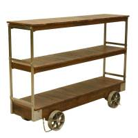 Industrial Rolling Reclaimed Wood & Iron 3 Tier Console ...