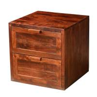 "Modern Rustic 20"" Cube Acacia Wood 2-Drawer Accent End Table"