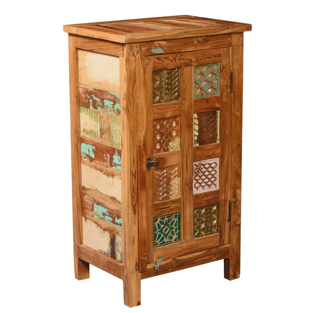 Appalachian Patch Quilt Reclaimed Wood Kitchen Cupboard