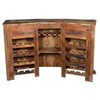 Harrisburg Colorful Rustic Reclaimed Wood Home Bar Cabinet