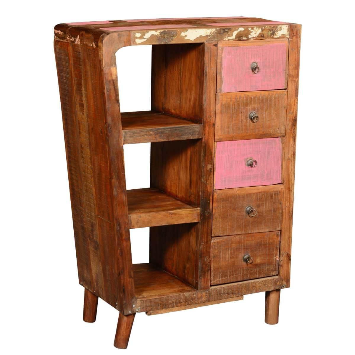 Rustic Reclaimed Wood 5 Drawer Storage Cabinet w Display