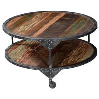 2 Tier Round Distressed & Industrial Coffee Table
