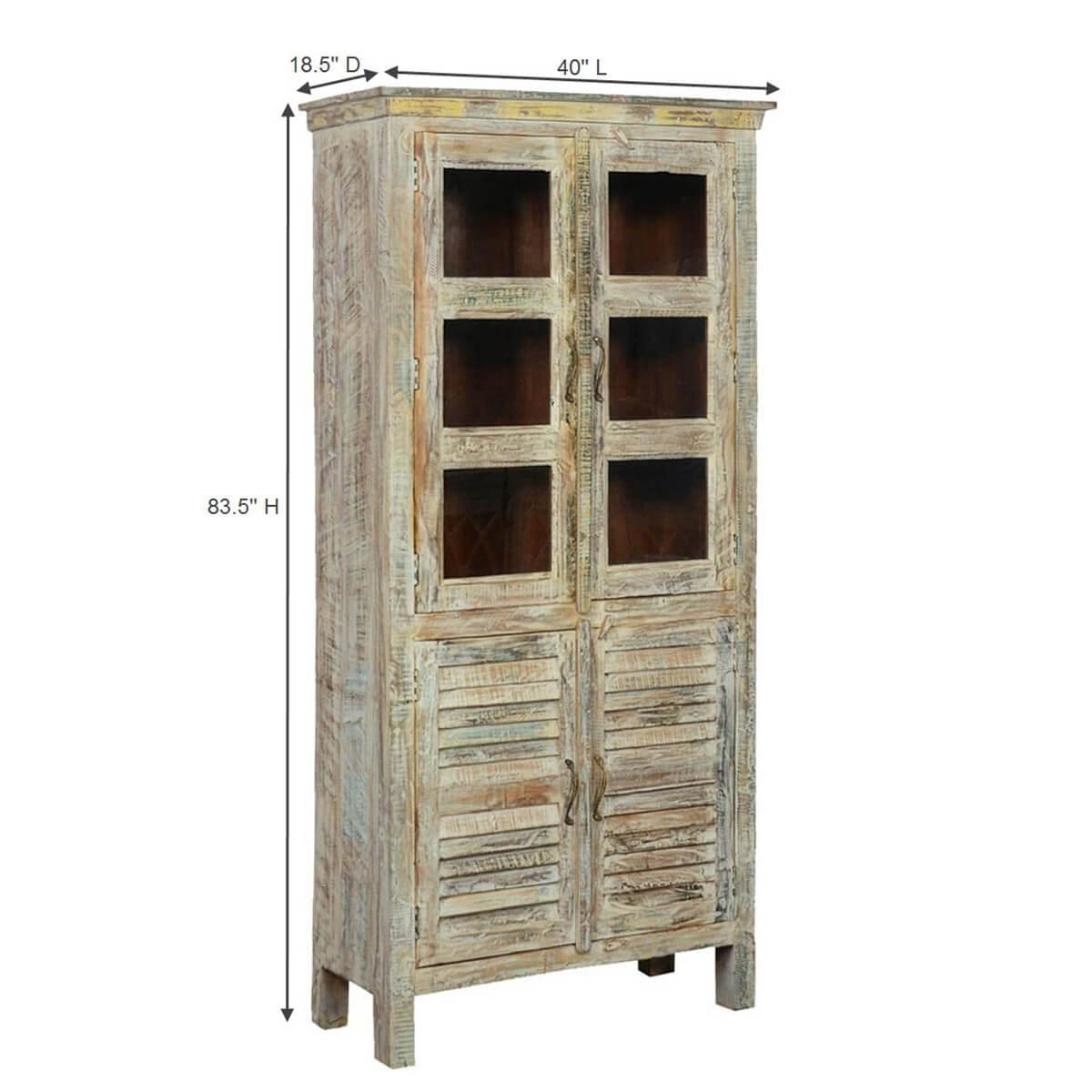 Winter White Solid Mango Wood Rustic Armoire Wardrobe Cabinet