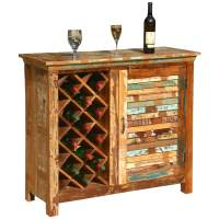 Garrard Rustic Reclaimed Wood Single Door Bar Cabinet w ...
