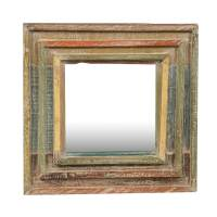 """Rainbow Rustic Reclaimed Wood 12.5"""" Square Framed Wall Mirror"""