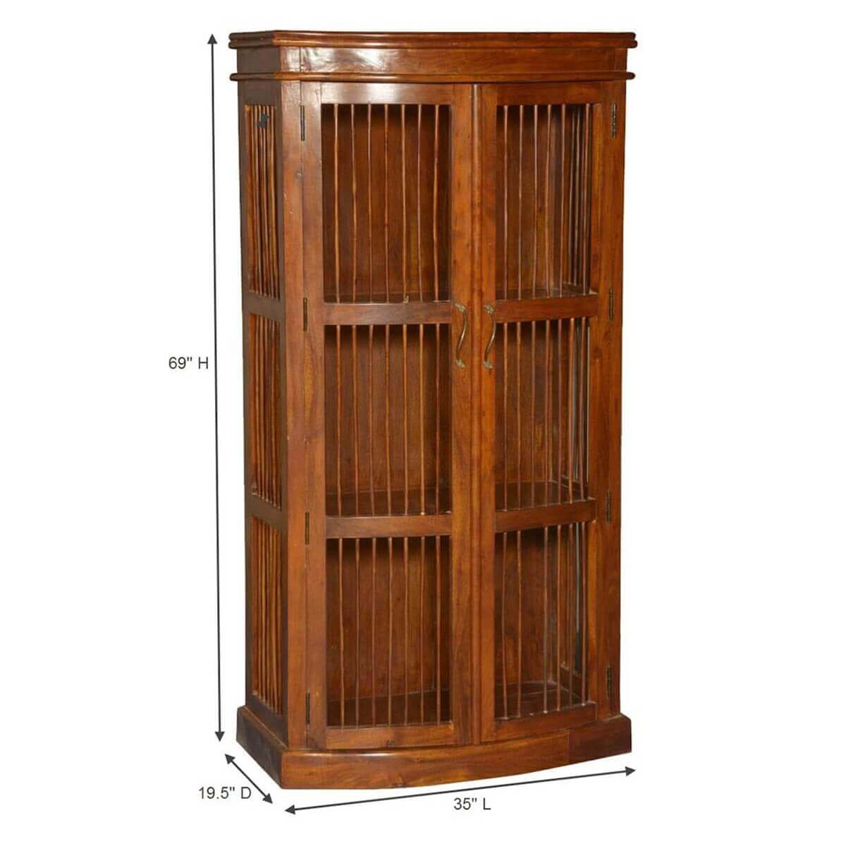 Wild West Acacia Wood Wooden Bars Curio Display Cabinet