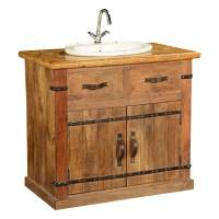 Country Farmhouse Mango Wood & Marble Bathroom Vanity Cabinet