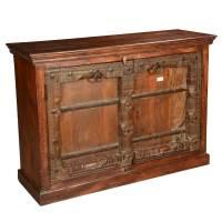 Primitive Carvings Reclaimed Wood Distressed Sideboard Cabinet