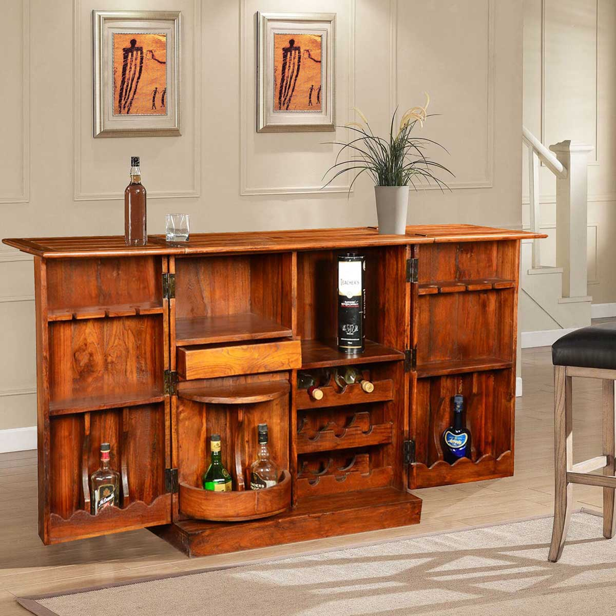 Double Diamond Solid Wood  Brass Expandable Wine Bar