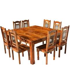Rustic Dining Table And Chairs Ergonomic Chair No Back Transitional Solid Wood Square Set