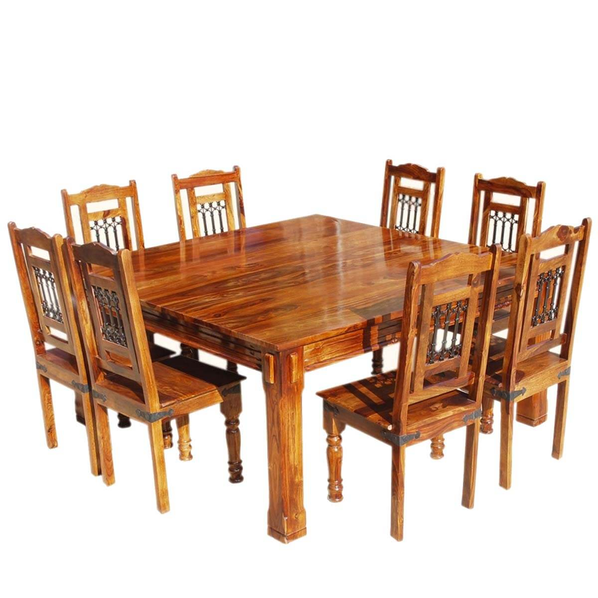 rustic dining table and chairs cedar adirondack sale transitional solid wood square set