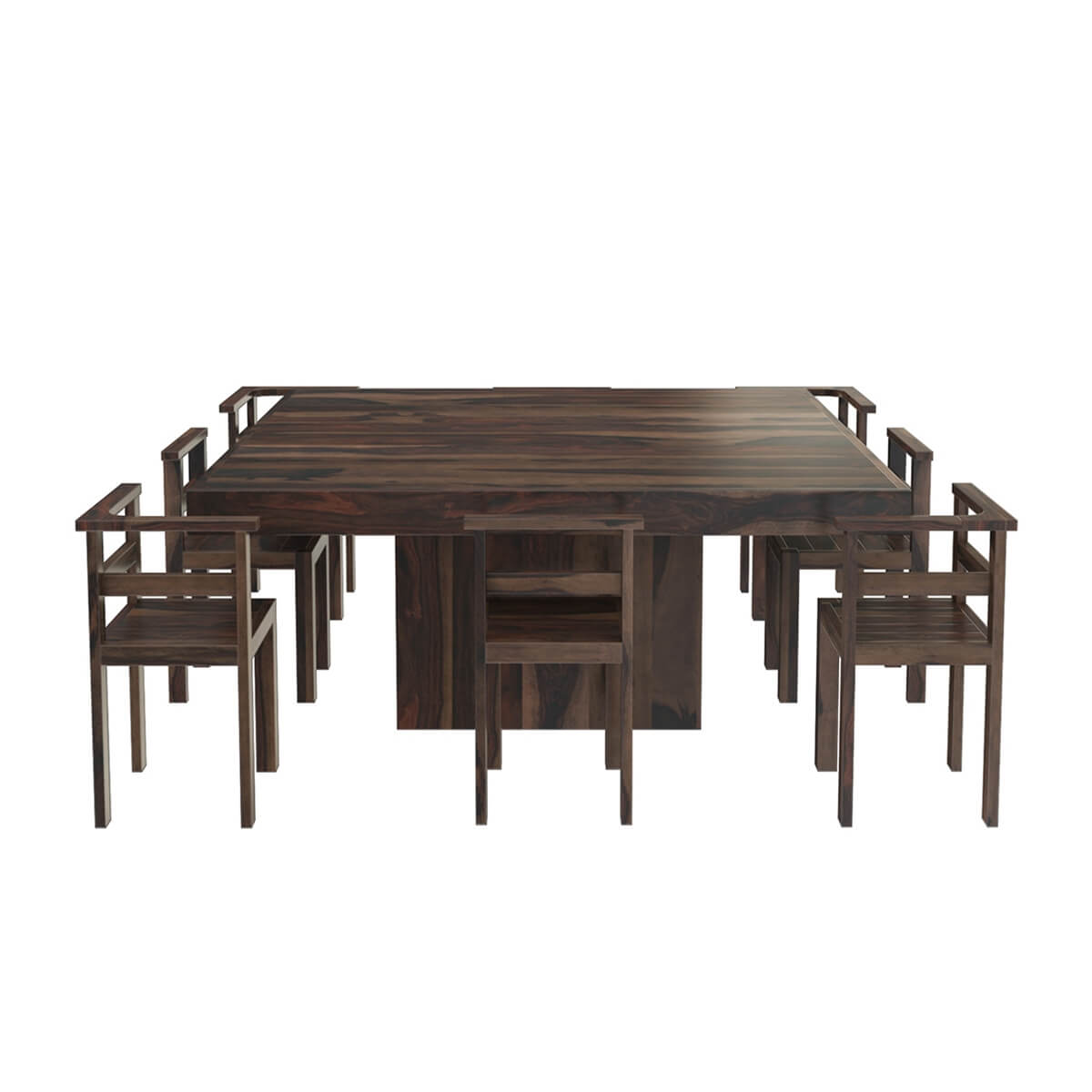 """Modern Rustic Solid Wood 64"""" Square Pedestal Dining Table"""